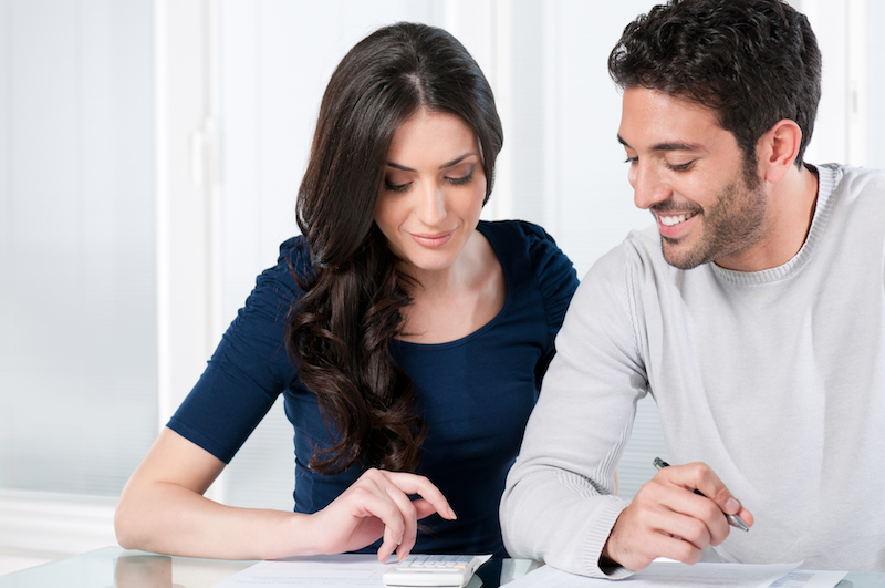 couple looking at energy bills